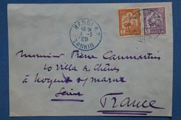 AB1 INDOCHINE   LETTRE  DEVANT 1929 TONKIN  POUR NOGENT  FRANCE  + AFFRANCH. PLAISANT - Cartas