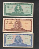 CUBA 5 + 10 + 20 PESOS 1968 / 71 - Cuba