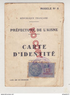 Au Plus Rapide Timbre Fiscal DA 13 Francs Sur Carte D'identité Aisne 1940 - Revenue Stamps