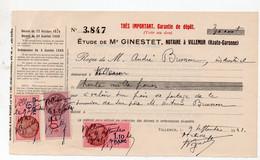 Villemur (31 Haute Garonne) Reçu 1941 Avec Timbres Fiscaux  (PPP31679) - Revenue Stamps