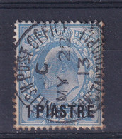 British Levant: 1911/13   Edward    SG28a   1pi On 2½d   Dull Blue    [Perf: 15 X 14]   Used - Levante Británica