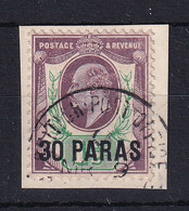 British Levant: 1911/13   Edward    SG29a    30pa On 1½d  Slate-purple & Green  Used On Piece - Levante Británica