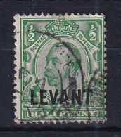British Levant: 1911/13   KGV 'Levant' OVPT    SG L14    ½d  Green  [Redrawn]    Used - Levante Británica