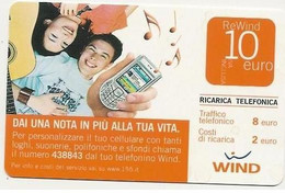 Ricarica WIND DAI UNA NOTA IN PIU' ALLA TUA VITA, Taglio 10,00 Euro, Scadenza 31-12-2009, PUBLICENTER ,usata - [2] Sim Cards, Prepaid & Refills