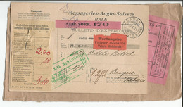 Messageries Anglo - Suisses Bâle, Bulletin D'Expédition, New York - Brigue (29.10.1915) 13x22 - Ohne Zuordnung
