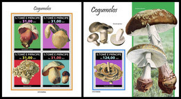 S. TOME & PRINCIPE 2021 - Mushrooms, M/S + S/S. Official Issue [ST210402] - Champignons