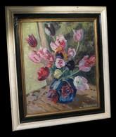 [FLEURS TULIPES POST-EXPRESSIONNISME] DUPYTOUT (G.) - Bouquet De Fleurs. - Oleo