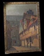 [NORMANDIE CALVADOS HsT Signée] CHAMPEAUX (Bernard Edouard De) - Maisons à Colombages à Lisieux. - Oleo