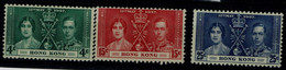 HONG KONG 1937 CORONATION OF KING GEORGE VI AND QUEEN ELIZABETH MI No 136-8 MLH VF!! - Unused Stamps
