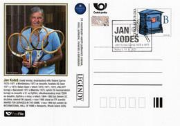 Czech Republic - 2021 - Jan Kodes, Czech Tennis Player - Sberatel Collectors' Fair - Postcard With Postmark And Hologram - Cartoline Postali