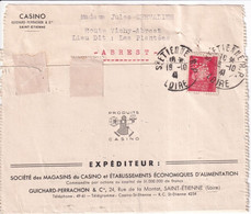 """PETAIN PERFORE / PERFIN ! - 1941 - LETTRE De """"CASINO GUICHARD-PERRACHON"""" ST ETIENNE (LOIRE) => BREST - Perfins"""