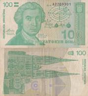 Croatia / 100 Dinars / 1991 / P-20(a) / VF - Croatia