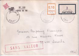 """COURS D'INSTRUCTION ! - ENVELOPPE """"SANS VALEUR"""" De L'ECOLE De TRI N°190 Avec CACHET AMBULANTS => LAROCHE (YONNE) - Lehrkurse"""