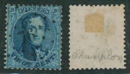 """Médaillon Dentelé - N°15 Obl Pt 76 (Lp 76) """"Champlon"""". COBA : 40. TB / Collection Spécialisée. - 1863-1864 Medaillen (13/16)"""