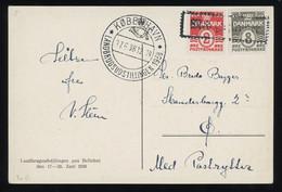 TREASURE HUNT [02112] Denmark 1938 Ill. Post Card (postman) Sent To Skanderborg, With 2 Ø+8 Ø, Framed Pmk. On Stamps - Briefe U. Dokumente