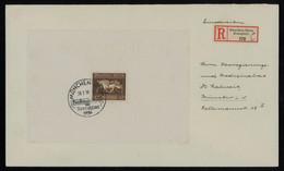 TREASURE HUNT [02127] Germany 1936 Reg. Cover From München Bearing Brown Ribbon Souv, Sheet 42 Pf, Special Pmk - Storia Postale
