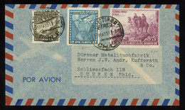 TREASURE HUNT [02129] Chile 1951 Air Mail Cover From Santiago To Dueren, Germany Bearing 50c+2 P+ $5 - Cile