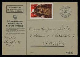 TREASURE HUNT [02165] Switzerland 1940 Cover Sent To Geneva Bearing Swiss Soldier`s Stamp, Special Pmk. - Briefe U. Dokumente