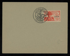 """TREASURE HUNT [02174] France 1947 Cover Bearing Journee Du Timbre 2f+5f With """"A O F"""" Ovpt., Special Pmk. On Stamp - Storia Postale"""