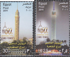 Egypt 2459-2460 (complete Issue) Unmounted Mint / Never Hinged 2011 Kairoer Telecommunications Tower - Ungebraucht
