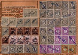 Lot De 5 Cartes De Quittance TIMBRES FISCAUX / SOCIO-POSTAUX / ALSACE LORRAINE - Revenue Stamps