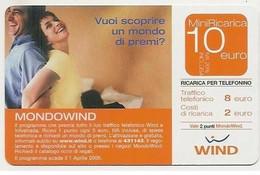 Ricarica WIND MONDOWIND, Taglio 10,0 Euro, Scadenza 30-06-2007, PIKAPPA, Data In Grassetto, Usata - [2] Sim Cards, Prepaid & Refills