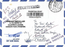 PAKISTAN 2021 AIRMAIL COVER TO  ESTONIA RETURNED WITH NO SERVICE FROM PAKISTAN RUBBER STAMP AND RTS COVID-19 POSTAL MARK - Estland