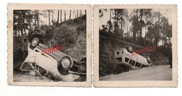 2 PHOTOS - UN ACCIDENT D'UNE  VOITURE - AUTO RENAULT 4L - Automobiles