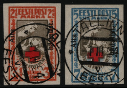 Estland 1923 - Mi-Nr. 46-47 B Gest / Used - Rotes Kreuz - BPP-Attest - Estonia