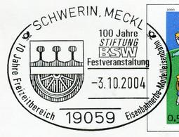 12837) BRD -  ✉ USo 19 Codiert, So-⨀ 19059 Schwerin, Meckl Vom 03.10.2004 - 100 Jahre Stiftung BSW Eisenbahner - Umschläge - Gebraucht