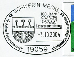 12838) BRD -  ✉ USo 20 I Codiert, So-⨀ 19059 Schwerin, Meckl Vom 03.10.2004 - 100 Jahre Stiftung BSW Eisenbahner - Umschläge - Gebraucht