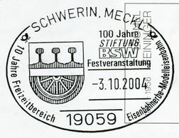 12839) BRD -  ✉ USo 45 Codiert, So-⨀ 19059 Schwerin, Meckl Vom 03.10.2004 - 100 Jahre Stiftung BSW Eisenbahner - Umschläge - Gebraucht