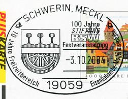 12840) BRD -  ✉ PSo 81 B I Codiert, So-⨀ 19059 Schwerin, Meckl Vom 03.10.2004 - 100 Jahre Stiftung BSW Eisenbahner - Cartoline - Usati