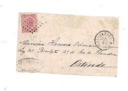 Belgique COB 20  Sur Lettre BRUXELLES NORD (63) Vers OSTENDE - 1863-1864 Medaillen (13/16)