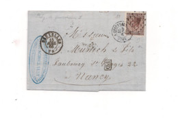Belgique COB 19 Sur Lettre BRUXELLES (60) Vers NANCY Via QUIEVRAIN - 1863-1864 Medaillen (13/16)
