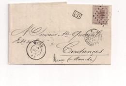 Belgique COB 19 Sur Lettre GAND (141) Vers COUTANCES Via QUIEVRAIN - 1863-1864 Medaillen (13/16)