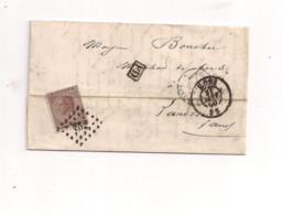 Belgique COB 19 Sur Lettre De MONS (252) Vers La FRANCE - 1863-1864 Medaillen (13/16)