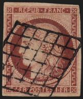 N°6, Cérès 1fr Carmin, Oblitéré Grille Noire - Signé JF.BRUN - TB D'ASPECT - 1849-1850 Cérès