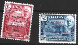 Aden  Mukalla 1946  SG 12-3  Victory   Mounted Mint - Aden (1854-1963)