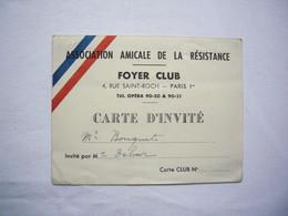 Carte Invité Association Amicale De La Résistance - Non Classés