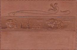 Raphaël KIRCHNER  : Carte Gauffrée , Embossée (aspect Cuir)- Superbe Et Rare - Kirchner, Raphael