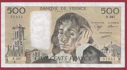 """France 500 Francs """"Pascal"""" Du 02/02/1989.B--ALPH.N.287 ----  .dans L 'état (P.225) - 500 F 1968-1993 ''Pascal''"""