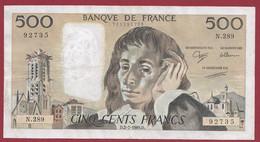"""France 500 Francs """"Pascal"""" Du 02/02/1989.D--ALPH.N.289 ----  .dans L 'état (P.226) - 500 F 1968-1993 ''Pascal''"""