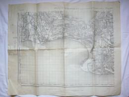 Jolie Carte N&B Début 20ème Arles S.O Et La Couronne N.O Golfe Des Sainres-Maries 63X77 Cm - Mapas Geográficas