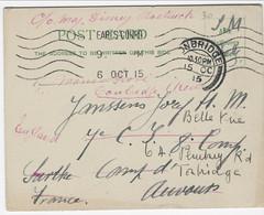 Engelse POST CARD Verstuurd Van EARLS COURT Naar Camp D'Auvours , Tweemaal Doorgestuurd Naar Engeland (1915) - Army: Belgium