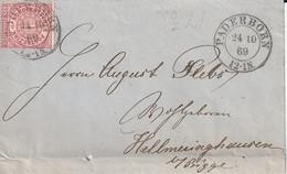 Allemagne Du Nord  Lettre Raderborn 1869 - Briefe U. Dokumente