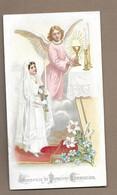 IMAGE PIEUSE.. Communion De Germaine Marie BOURGOIN, Eglise Du TITRE, En 1909.. ANGE - Devotieprenten