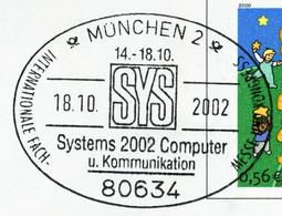 12848) BRD - ✉ USo 19 Codiert Mit So-⨀ 80634 München 2 Vom 18.10.2002 - SYS Systems 2002 Computer U. Komminikation - Umschläge - Gebraucht