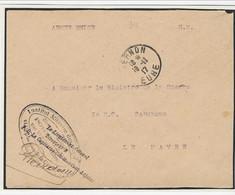 Brief Van Institut Militaire Des Invalides Et Orphelins De La Guerre - PORT VILLERS Naar Minister Van Oorlog In Le Havre - Army: Belgium
