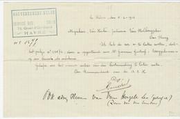 Brief Van GOUVERNEMENT BELGE / SERVICE DES COLIS HAVRE I;v;m; Niet-aflevering Pakket (1916) - Army: Belgium